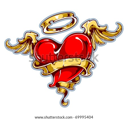 Tattoo styled heart with wings, halo and ribbon for your text. Layered. Vector EPS 10 illustration. - stock vector