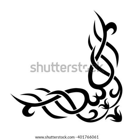 Tattoo Tribal Corner Border Vector Design Simple Logo Individual Designer Isolated Element For Decorating
