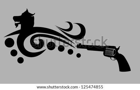tattoo tribal dog and gun vector art - stock vector