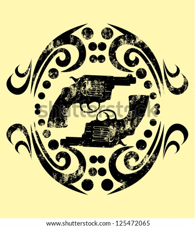tattoo tribal frame and gun vector art - stock vector