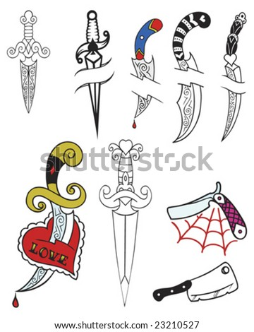 tattoo tribal knives - stock vector