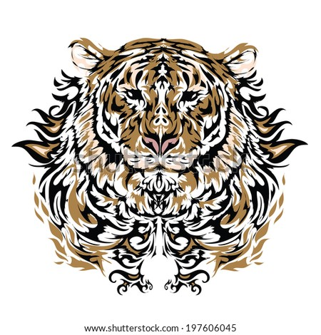 Tattoo vector sketch of a tiger's face - stock vector