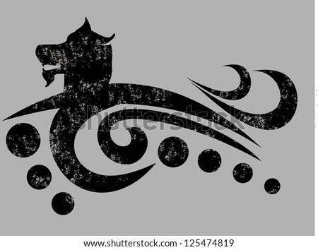 tattoo Wild wolf vector art - stock vector