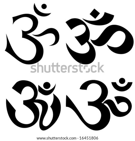 Tattoo Indian Symbol Om Different Styles Stock Vector Royalty Free