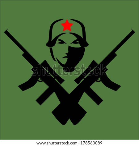 Tattoos - Icons Fighters and guns.vector - stock vector