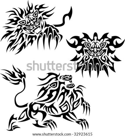 Tattoos with flaming lions.