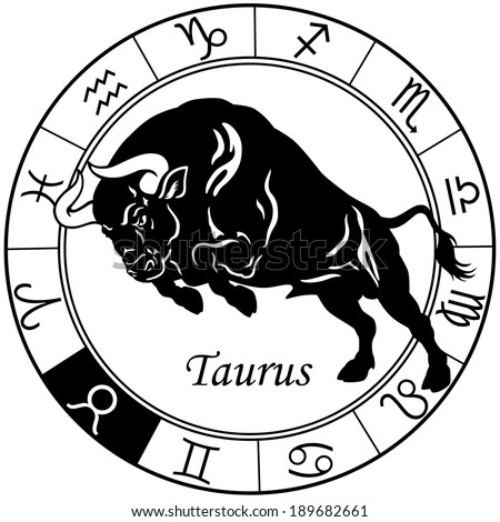 taurus or ox astrological zodiac sign, black and white image  - stock vector
