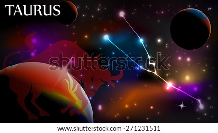 Taurus - Space Scene with Astrological Sign and copy space - stock vector