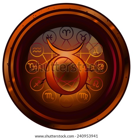 Taurus Zodiac Sign on an Ancient Round Grunge Stone, Vector Illustration isolated on White Background, Item 2 from a Set of 12. - stock vector