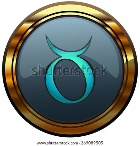 Taurus Zodiac Sign on an Round Glossy Plate, Vector Illustration isolated on White Background, Item 2 from a Set of 12. - stock vector