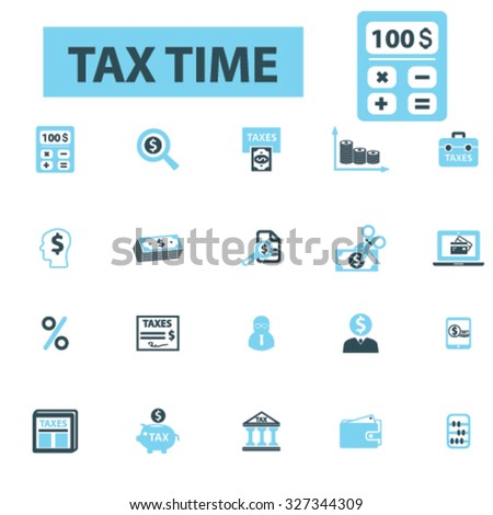 tax, accountant icons - stock vector