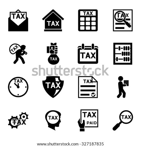 Tax and finance icons vector set. Taxation and accounting, payment and business illustration - stock vector