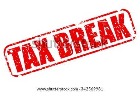 TAX BREAK red stamp text on white - stock vector