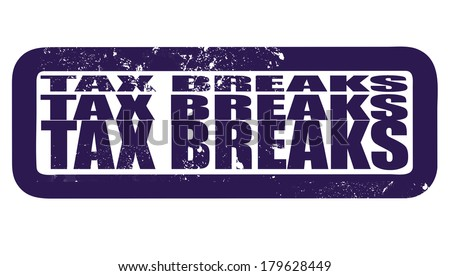 tax breaks grunge stamp on vector illustration - stock vector