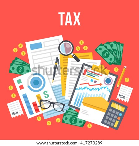 Tax calculation, budget calculation, accounting, paperwork concept. Top view. Modern flat design graphic elements for web banners, web sites, infographics. Red background. Creative vector illustration - stock vector