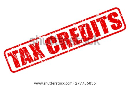 Tax credits red stamp text on white - stock vector