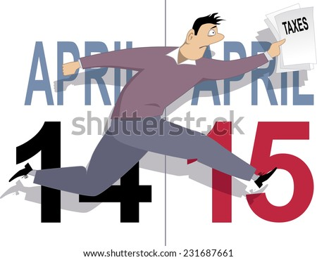 Tax day in USA. Anxious man running with tax forms, April 14 and 15 calendar pages are on the background - stock vector