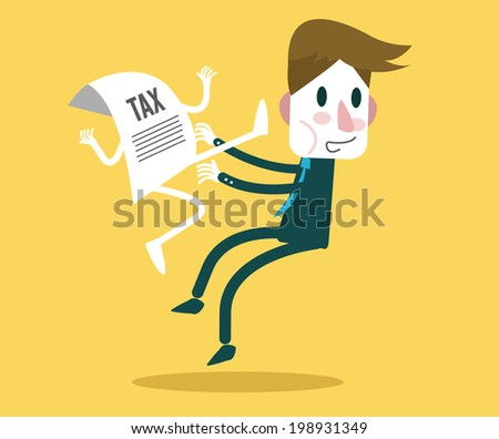 TAX document jump kick businessman. Tax Burden concept design. vector illustration - stock vector