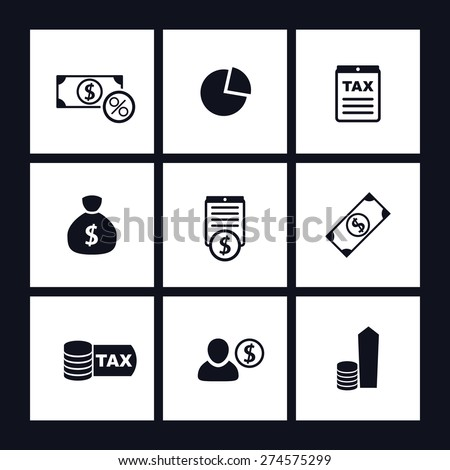 tax, finance, money, income flat square icons, vector illustration, eps10, easy to edit - stock vector