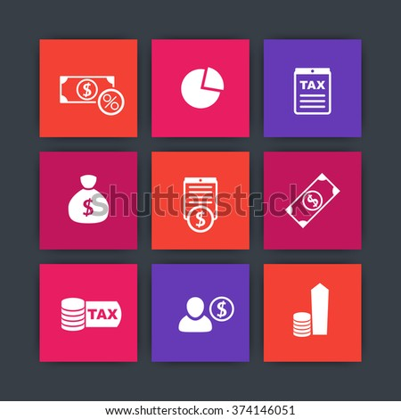 tax, finance, payroll, income square icons, vector illustration - stock vector