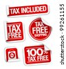Tax free shopping stickers set. - stock vector