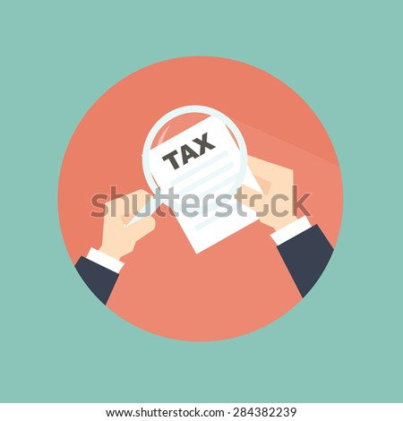 Tax inspector with hand - flat style - stock vector