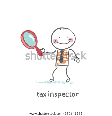tax inspector with magnifying glass - stock vector
