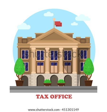 Tax office architecture or financial building facade exterior with column or pillar and bushes or trees on sides. Cityscape social business construction for income tax department or revenue service. - stock vector