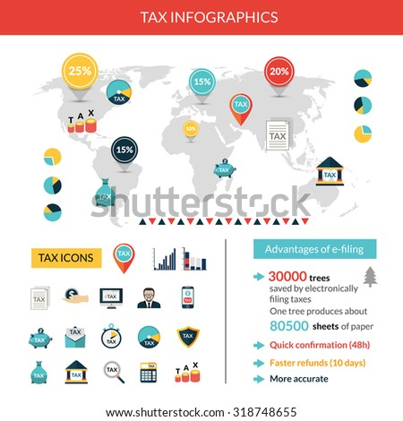 Tax paying and finance infographics set with world map vector illustration - stock vector