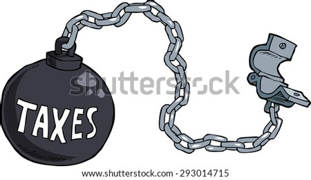 Tax shackles on white background vector illustration - stock vector