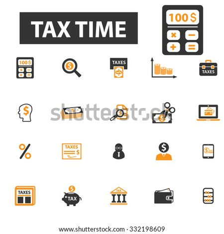 tax time, finance, accounting, accountant icon & sign concept vector set for infographics, website - stock vector