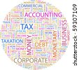 TAX. Word collage on white background. Illustration with different association terms. - stock photo