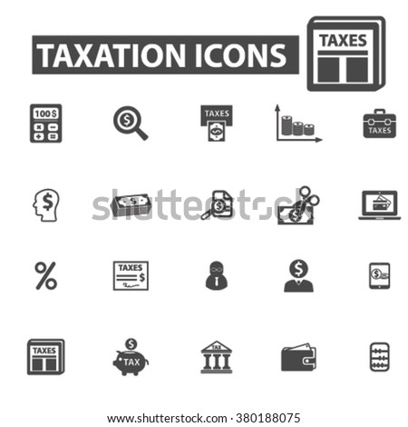 taxation icons, taxation logo, tax icons vector, tax flat illustration concept, tax infographics elements isolated on white background, tax logo, tax symbols set, debt, taxes, tax time, savings - stock vector