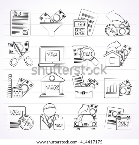 Taxes, business and finance icons - vector icon set - stock vector