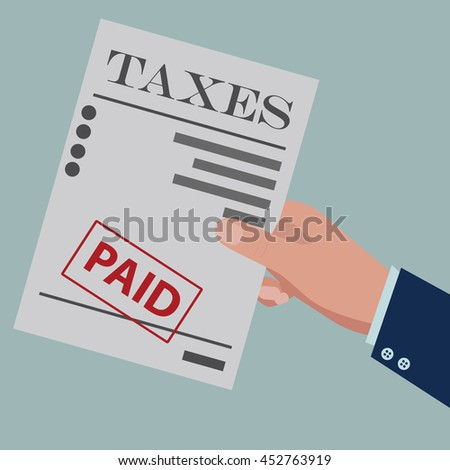 TAXES paid. Flat design for business financial marketing banking advertisement office people property in minimal concept cartoon illustration. - stock vector