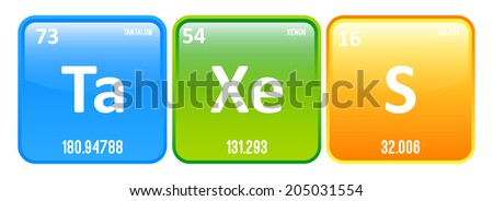 Taxes word made periodic table elements stock vector hd royalty taxes word made of periodic table elements tantalum xenon and sulfur urtaz Gallery