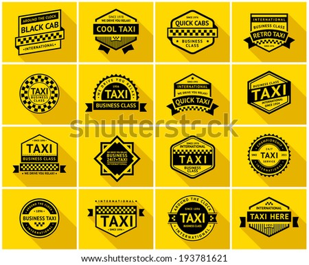 Taxi badge with shadow, vector illustration - stock vector