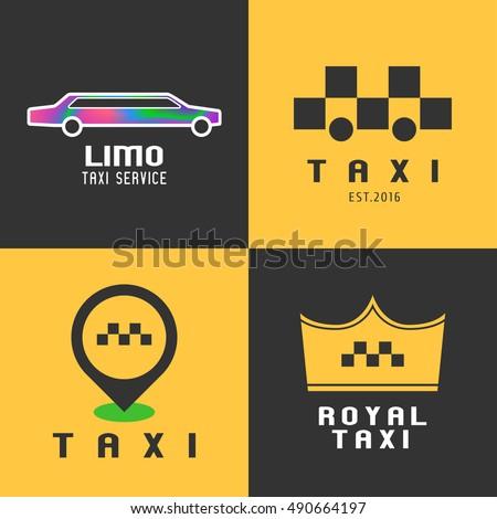 Taxi Cab Collection Set Vector Logo Stock Vector 490664197