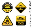 Taxi cab set buttons, group vector icons - stock photo