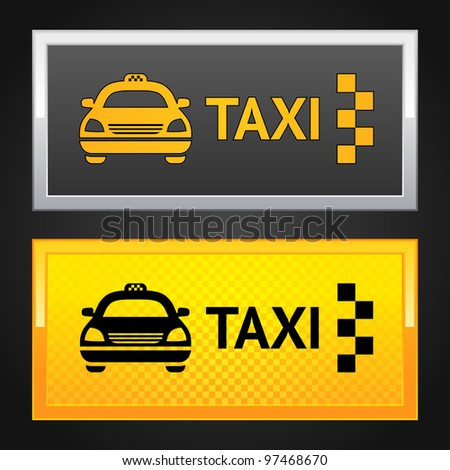 Taxi cab set label - stock vector