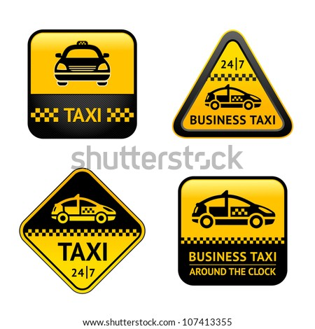Taxi cab set labels - stock vector