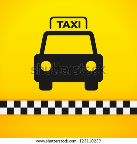 Taxi Cab Symbol on Yellow - Black silhouette of taxi car on bright yellow background - stock vector