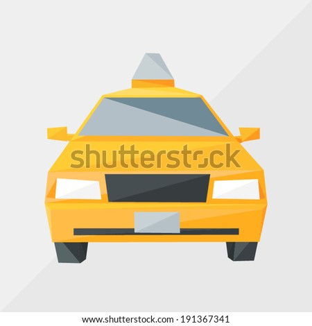 taxi car by triangles, polygon vector illustration - stock vector