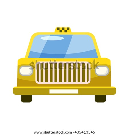 Taxi car icon in cartoon style
