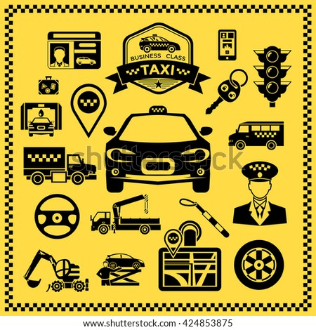 Taxi decorative icons set with vehicles machine elements checkerboard pattern along edge on yellow background vector illustration  - stock vector