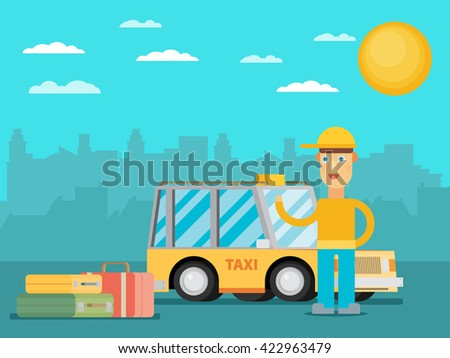 Taxi driver in the city.Flat vector. - stock vector