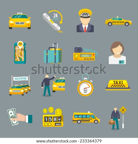 Taxi driver transportation service icons flat set isolated vector illustration. - stock vector