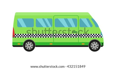 Taxi green bus car isolated on white background. Vector green taxi bus van and cab transport traffic urban yellow taxi. Road street service taxi bus car isolated, Van truck taxi bus - stock vector