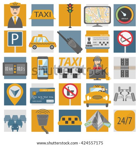 Taxi icon. Flat design. Vector illustration