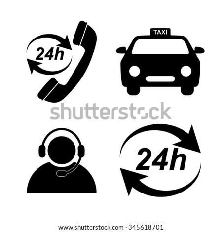 taxi icons set - stock vector